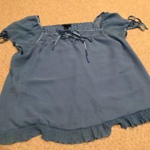 Lane Bryant periwinkle blue tie peasant blouse